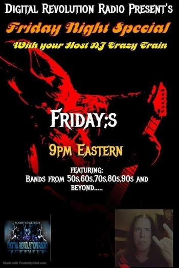 🎸🎸🎸🎸🎸🎸🎸🎸🎸Coming at you live 9pm eastern you got the Friday Night Special with your host DJ Crazy come rock with…