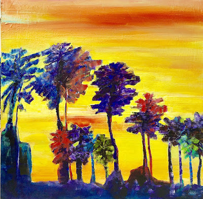 """Abstract Landscape, Contemporary Painting, Palm Trees, """"Sunset Palms"""" by California Artist Cecelia Catherine Rappaport"""